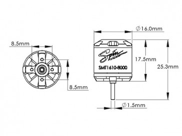 Spin Brushless Out-Run Motor 8000kv (16D x 10H mm) -B130X SMT1610-8000