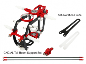 Rakon CNC AL Advanced Main Frame w Tail Boom Support Set Red Blade mCPXBL mCPXBL454-R